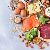 Assortimento della fonte sana della proteina e dell'alimento del body building Fotografie Stock Libere da Diritti
