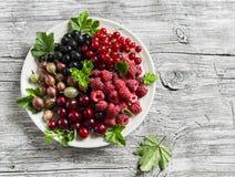 Assortimento delle bacche - lamponi, uva spina, ribes rosso, ciliege, ribes nero su un piatto bianco su un fondo di legno Fotografia Stock