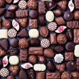 Assortimento delle caramelle di cioccolato fini Vista superiore Immagine Stock