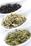 Assortimento delle foglie di tè asciutte in cucchiai Fotografie Stock Libere da Diritti