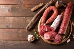 Assortimento delle salsiccie Fotografia Stock
