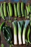 Assortimento delle verdure verdi Fotografia Stock