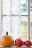 Assortimento delle zucche differenti sul davanzale della finestra Fotografie Stock Libere da Diritti