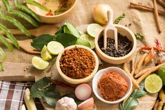 Assortimento di alimento tailandese che cucina gli ingredienti Aromatizza gli ingredienti fotografia stock libera da diritti