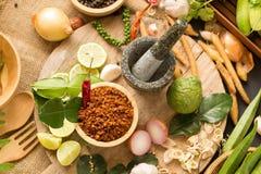 Assortimento di alimento tailandese che cucina gli ingredienti Aromatizza gli ingredienti fotografia stock