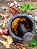 Assortimento di alimento tailandese che cucina gli ingredienti e pasta del po tailandese Fotografie Stock Libere da Diritti
