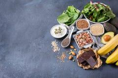 Assortimento di alto alimento sano di fonti del magnesio Immagine Stock Libera da Diritti