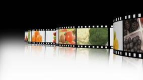 Assortimento di frutta e di veg su una bobina di film video d archivio