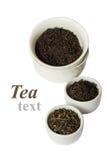 Assortimento di tè asciutto in ciotole bianche Fotografie Stock Libere da Diritti