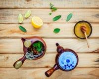 Assortimento di tè di erbe secco Vasi della tisana con le erbe fresche Fotografia Stock Libera da Diritti