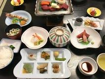 Assortimento giapponese Haute di cucina per un pasto di kaiseki fotografia stock