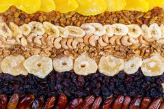 Assortimento secco di frutti su fondo di legno Vista superiore Fotografie Stock