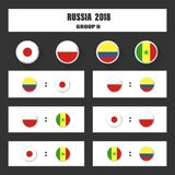 Assortissez le programme, la table de 2018 résultats finale d'aspiration, drapeaux des pays participant au tournoi international  Photo libre de droits
