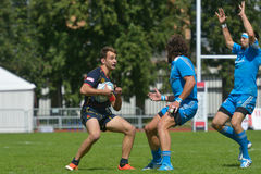 Assortissez pour l'endroit 9 Italie contre l'Espagne dans le rugby 7 séries de Grand prix à Moscou Photographie stock