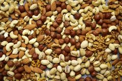 Assortmen of nuts - healthy snack. Royalty Free Stock Photo