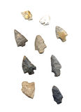 Assortment of American Indian Arrowheads. Assortment that is part of a collection of American Indian Arrowheads Stock Images