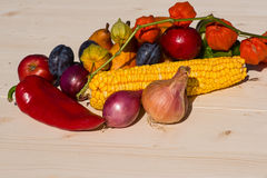 Assortment of autumn fruit and vegetables Stock Photo
