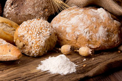 Assortment of baked bread Stock Images