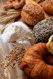 Assortment of baked bread. With seeds or simple and pretzels Royalty Free Stock Photography