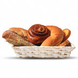 Assortment of baked bread in a basket. Different kinds of bread placed in a basket royalty free stock images
