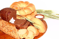 Assortment of baked bread isolated on white. Buckground Royalty Free Stock Photography