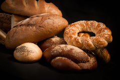Assortment of baked bread Stock Photos