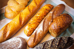 Assortment of baked bread. Selective focus Stock Photo