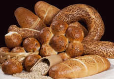 Assortment Of Baked Breads. Assortment of baked goods, bread and bakeries stock photo
