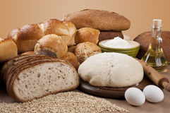Assortment Of Baked Breads with leaven. Assortment of baked goods, bread and bakeries with leaven stock images