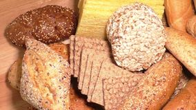 Assortment of baked goods in wood background stock footage