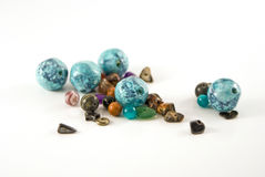 Turquoise, Malachite, Goldstone Beads stock photo
