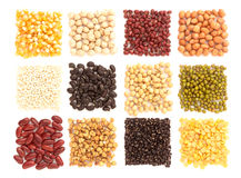 Assortment of beans and lentils in wooden spoon with wood box ma Stock Image