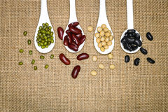 Assortment of beans in white spoon on hemp sack background. Mung Royalty Free Stock Photos