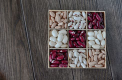Assortment of beans in wooden box. Stock Images