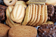 Assortment of biscuits. Closeup of crisp biscuits of different shape and sizes Stock Photography