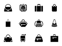 Assortment of Black Baggage Icons. On White Background Royalty Free Stock Images