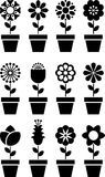 Flowers in Pots Icons Stock Photography