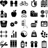 Health and Fitness Icons. Assortment of black icons depicting healthy lifestyles, exercising, physical fitness, wellness and serenity Stock Image