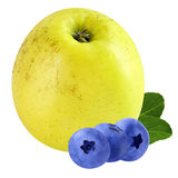 Assortment blueberries and Apple isolated on white background. Isolated fruits. Isolated bilberry and Apple on white background with a clipping path as package stock photo