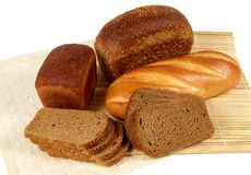 Assortment of bread. There are different sorts of bread in the picture made of rye and wheat flour Stock Photos