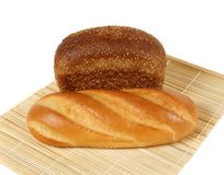 Assortment of bread. There are two sorts of bread in the picture made of rye and wheat flour Royalty Free Stock Image