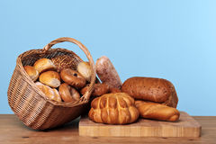 Assortment of bread in a basket Royalty Free Stock Photo