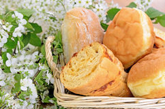 Assortment of bread in a basket Stock Images