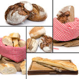 Assortment of bread collage. Isolated on white Royalty Free Stock Photography
