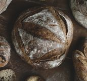 An assortment of bread loaves food photography recipe ideas Stock Images