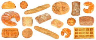 Assortment bread products from wheat and rye isolated on white Royalty Free Stock Photography