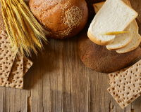 Assortment of bread (rye, whole wheat, for toast) Royalty Free Stock Photography