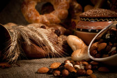 Assortment of  bread on sacking Royalty Free Stock Image