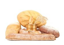 Assortment of bread with a wooden vase. Stock Photos
