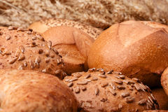 Assortment of breads and ears bunch still life Royalty Free Stock Images